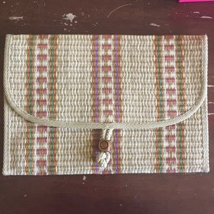 Valerie straw large clutch, made in Italy
